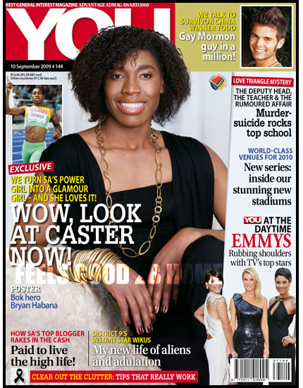 "CASTER SEMENYA COVERS ""YOU"" MAGAZINE WITH A NEW LOOK"
